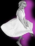 Een foto van de lookalike van Marilyn Monroe